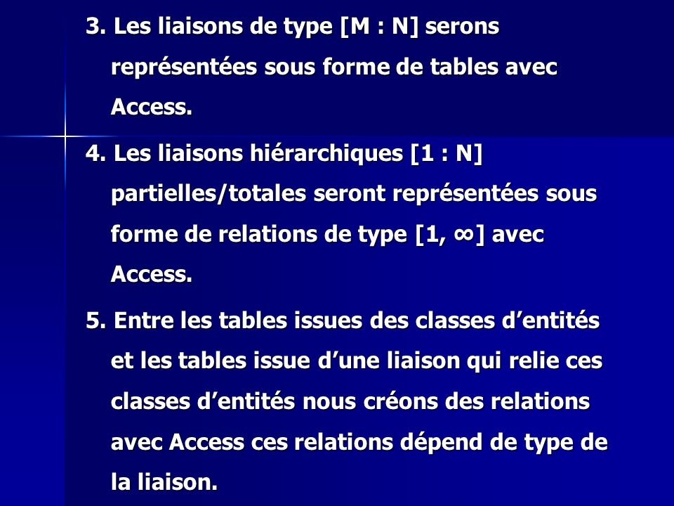 3. Les liaisons de type [M : N] serons représentées sous forme de tables avec Access.